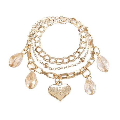 Joyas creativas de moda pulsera de aleación de múltiples capas letras de cristal pulsera colgante de amor NHPF196118's discount tags