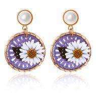New daisy flower round earrings female fashion cotton braided sweet pearl earrings NHPF196119