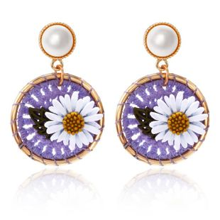 New daisy flower round earrings female fashion cotton braided sweet pearl earrings NHPF196119's discount tags