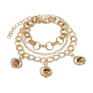 Multi-layer alloy ring chain set bracelet with female metal ball ring pendant bracelet NHPF196121's discount tags