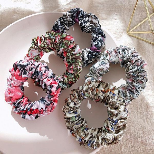 Korean fashion new retro floral hair ring head rope fabric large intestine ring tied hair rope NHPF196125