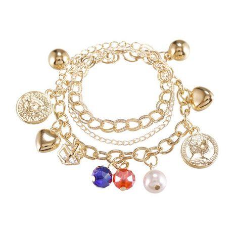 Pulsera de cadena de metal multicapa pulsera de corazón de durazno de aleación dulce de moda pulsera de cristal de perla colgante NHPF196126's discount tags