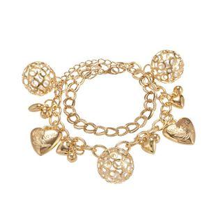 Fashion Metal Love Hollow Ball Double-layer Chain Bracelet Simple Frosty Wind Bracelet NHPF196128's discount tags