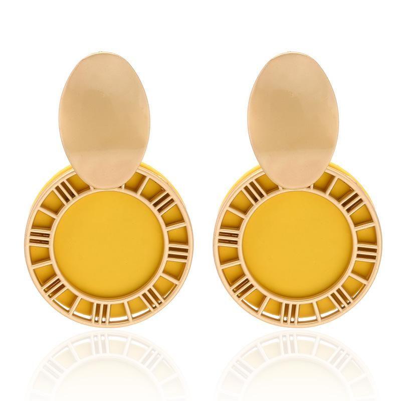 Fashion new Roman numerals creative retro sequins geometric hollow disc candy color earrings women NHPF196130