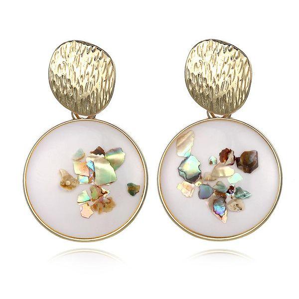 Hot sale new earrings creative simple retro glued gravel alloy round earrings NHPF196132