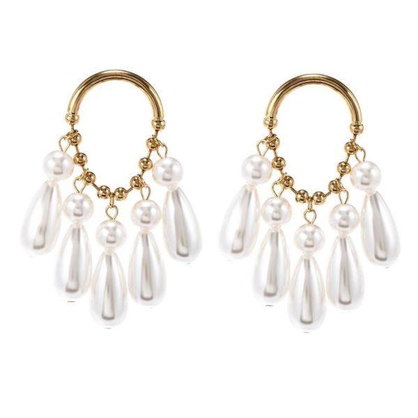 Earrings Women Retro Alloy Pearl Tassel Earrings Fashion Simple Earrings NHPF196133