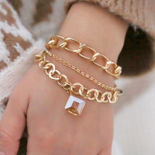 Hot Jewelry Trend Creative Alloy Chain Square Crystal Pendant Bracelet Simple Set Bracelet NHPF196137's discount tags
