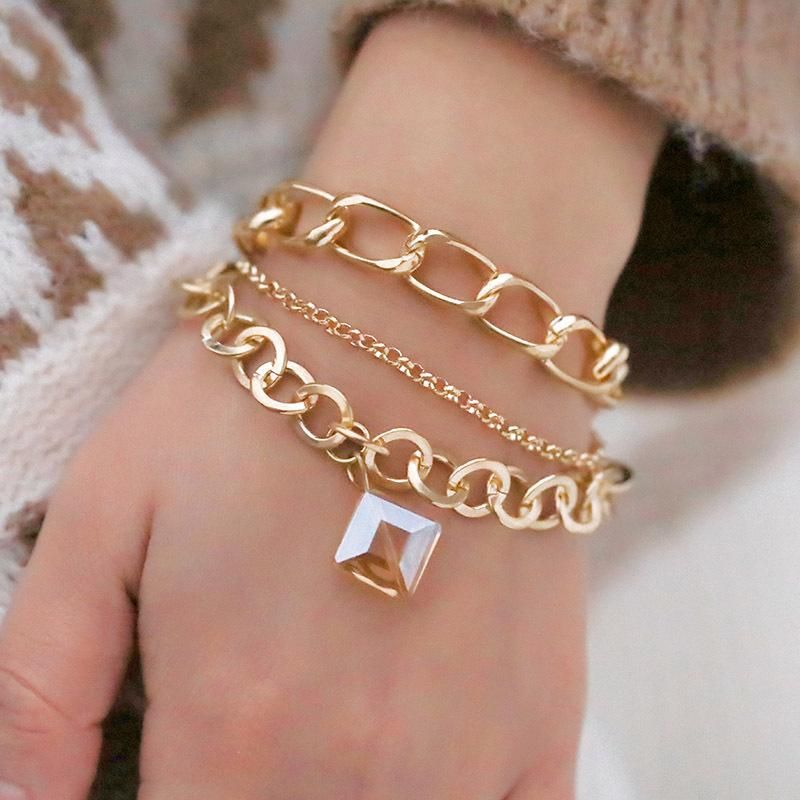 Hot Jewelry Trend Creative Alloy Chain Square Crystal Pendant Bracelet Simple Set Bracelet NHPF196137