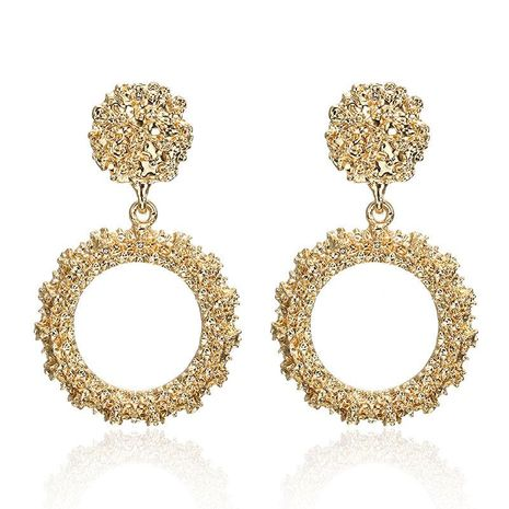 New earrings fashion round alloy spray-painted plating earrings NHPF196138's discount tags