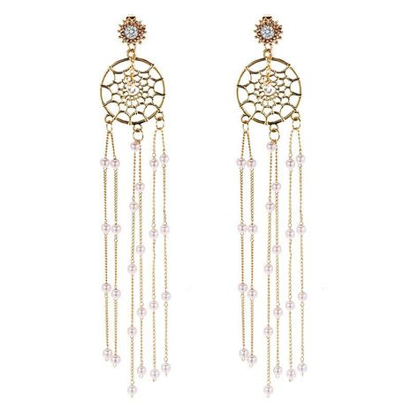 925 Silver Korean New Fashion Long Pearl Tassel Dream Catcher Earrings NHPF196140's discount tags