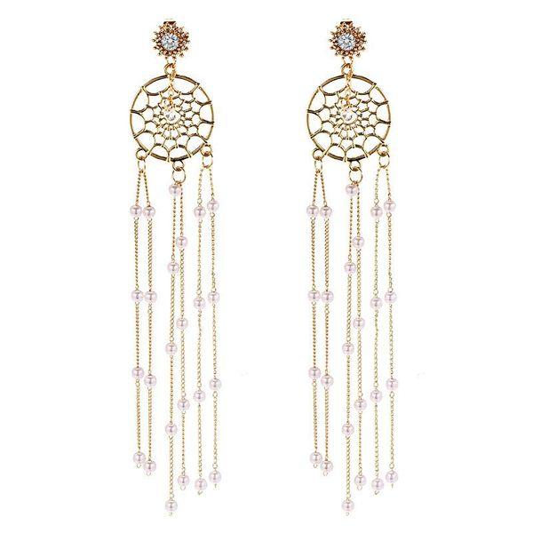 925 Silver Korean New Fashion Long Pearl Tassel Dream Catcher Earrings NHPF196140