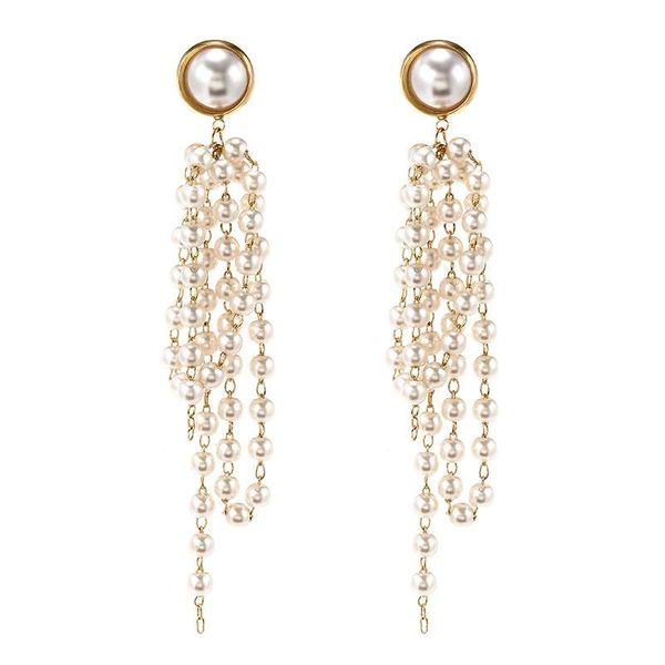 Korean earrings new trend retro pearl fringed long earrings female fashion earrings NHPF196141