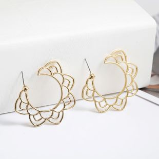 New jewelry wild simple fashion hollow flower alloy earrings NHPF196145's discount tags