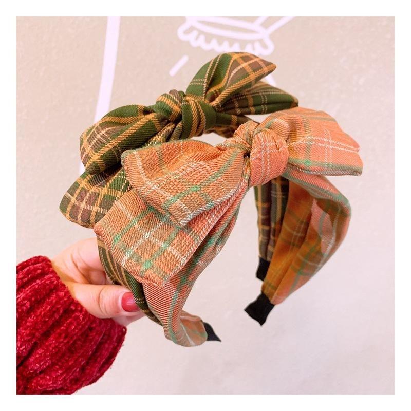 Card accessories vintage British plaid double bow wild headband wholesales fashion NHHD201122