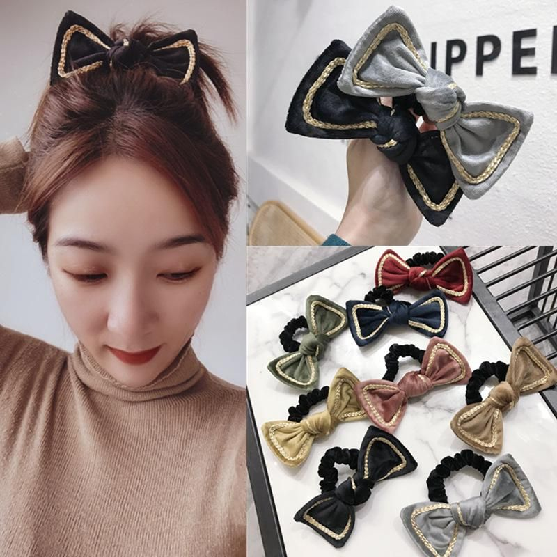 Korean gold velvet fabric Phnom Penh big bow high elastic hair rope hair band rubber band women NHSM201133