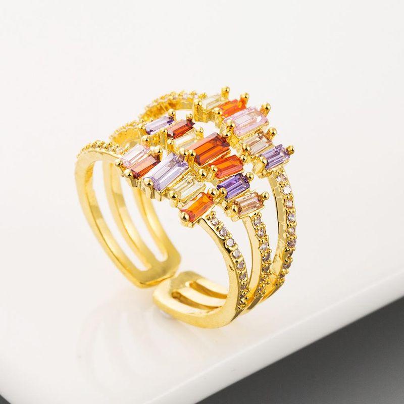 Explosion style creative retro ring female brass micro-set color zircon geometric ring NHLN201142