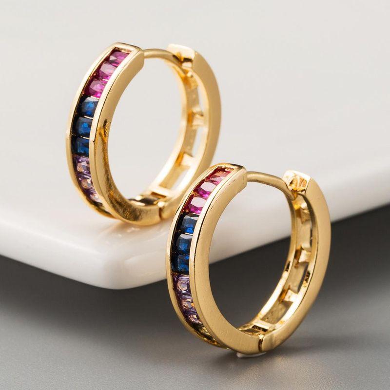 Explosive earrings copper micro-inlaid color zircon earrings exquisite rainbow series trend earrings NHLN201144