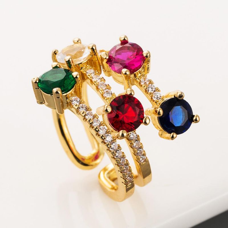 Explosion style ring three-layer colored gemstone ring bohemian brass 18K gold zircon ring NHLN201146