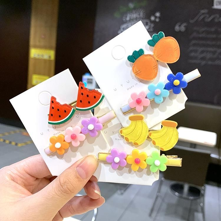 The new fashion fruit side clip color word clip girl bangs clip small flower clip headdress NHSA201161