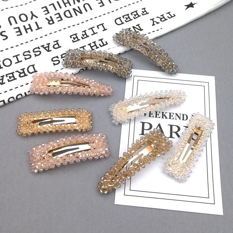 Crystal side clip Korean style wild simple diamond hair accessories hair clip NHSA201162