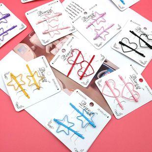Colorido flequillo clip melocotón corazón cinco estrellas palabra clip chica horquilla dulce cabello pinza NHSA201165's discount tags