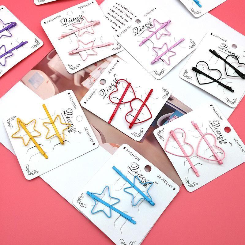 Colorful bangs clip peach heart five-star word clip girl hairpin sweet hair clip NHSA201165