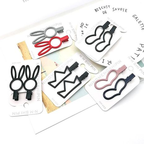 Metal frosted crown duckbill clip cartoon long ear rabbit hair clip cute wild bangs hairpin NHSA201166's discount tags