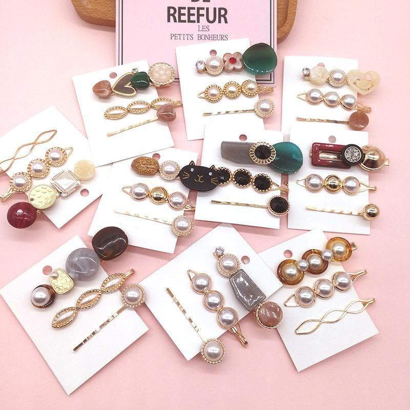 Korean retro simple pearl hair clip three-piece suit heart-shaped bangs clip edge clip word clip hair accessories NHSA201175