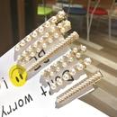 Korean simple shiny clip rhinestone temperament edge clip word pearl hair clip NHSA201177