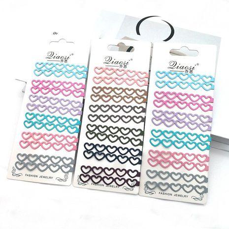 Korean retro love hollow geometric color alloy paint edge clip hair accessories hair clip NHSA201182's discount tags