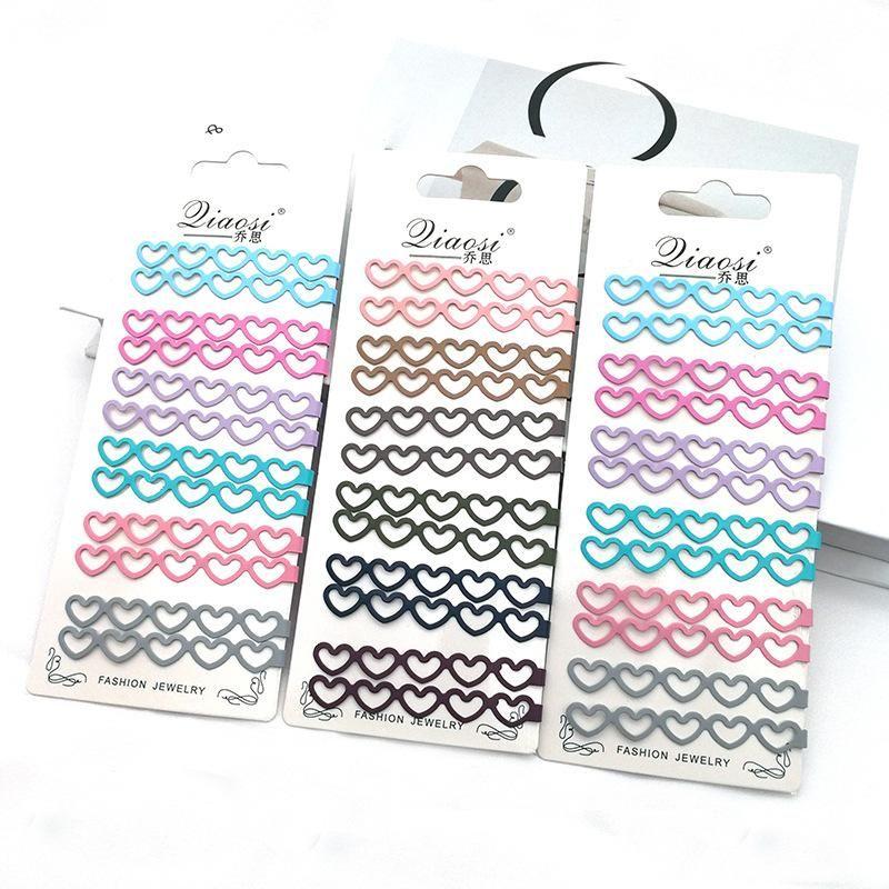 Korean retro love hollow geometric color alloy paint edge clip hair accessories hair clip NHSA201182