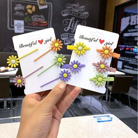 Korean color hair clip sweet girl daisy candy color hair accessory duckbill clip bangs hair rope NHSA201190's discount tags
