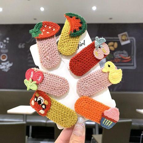 Hand-knitted wool broken hair clip children's side clip baby cartoon BB clip girl hairpin headdress NHSA201207's discount tags