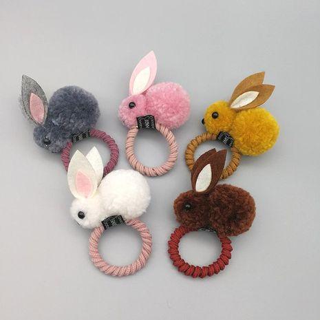 Korean version of the cute cute three-dimensional small rabbit plush rabbit ear hair clip autumn and winter hair ring female head rope child hair accessories NHSA201210's discount tags