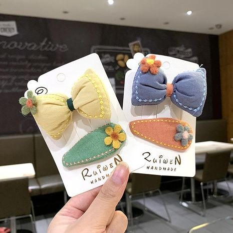 Children's flower hairpin for women Korean cute bow hair ring baby bangs card broken hair girl headdress NHSA201218's discount tags