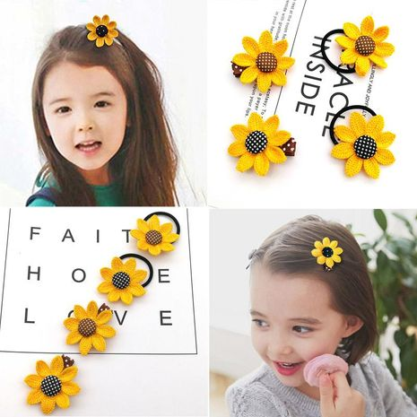 Children's sunflower hairpin hair ring hair accessories headdress baby rubber band girls hairpin NHSA201219's discount tags
