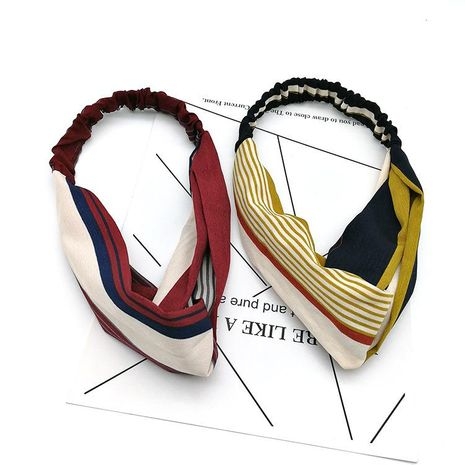 New Korean of the stripe hit color cross wide edge hair band headband retro simple wild face wash headband NHSA201223's discount tags