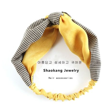 Simple Headdress Houndstooth Hair Band Check Headband Headband Knotted Headband Cross Headband NHSA201225's discount tags