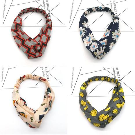 Spring Korean Floral Fabric Wide Cross Hair Band Hair Accessories Boutique Headband Headband NHSA201227's discount tags