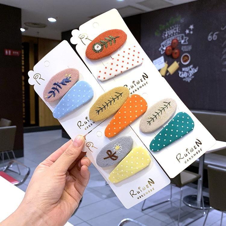 Accessoires de cheveux pour enfants corens couleur pince  cheveux en tissu broderie en pingle  cheveux parentenfant BB clip ensemble NHSA201232