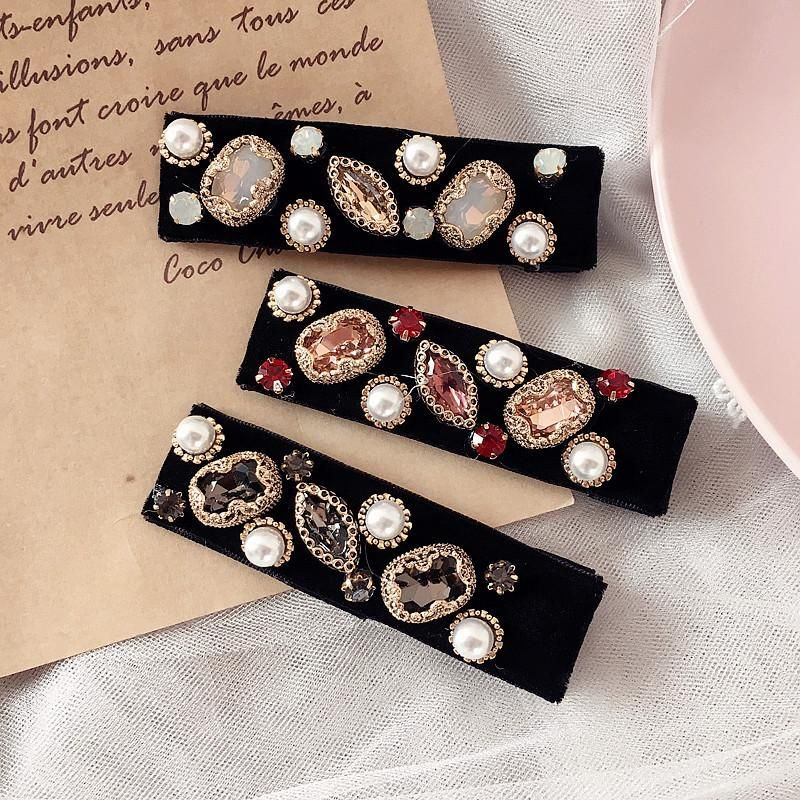 New retro full diamond velvet square pressure clip hair clip hair accessories women NHHI201235