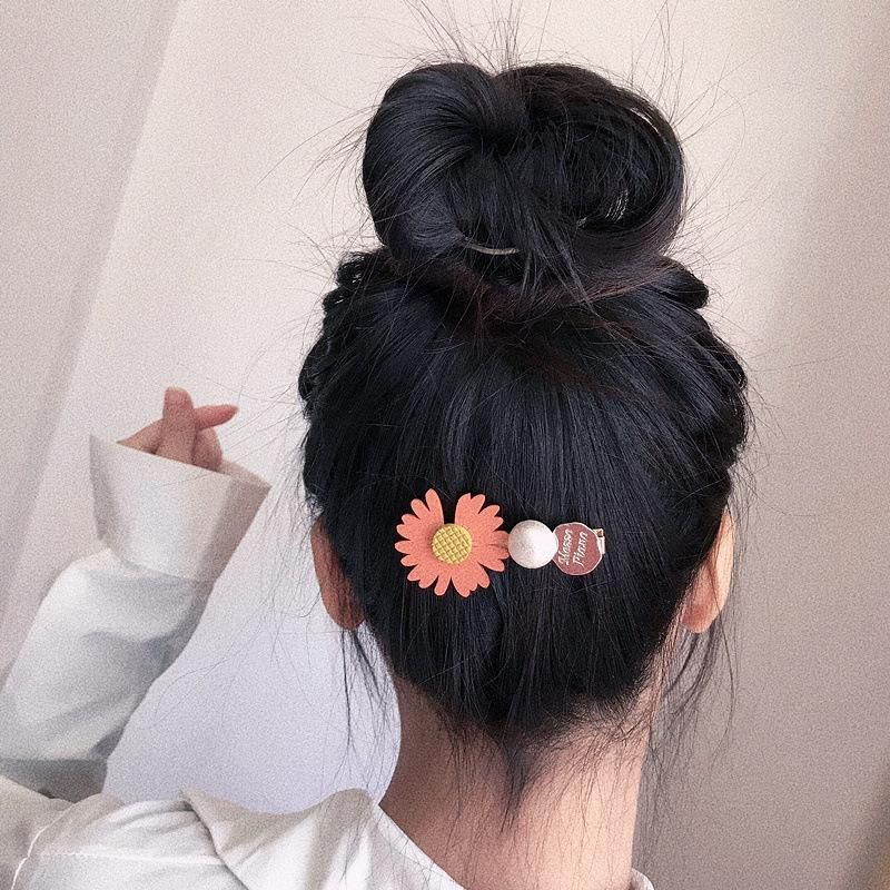 New Korean of the pearl wild small daisy black gold plating hair clip hair clip hair accessories headdress female NHHI201240