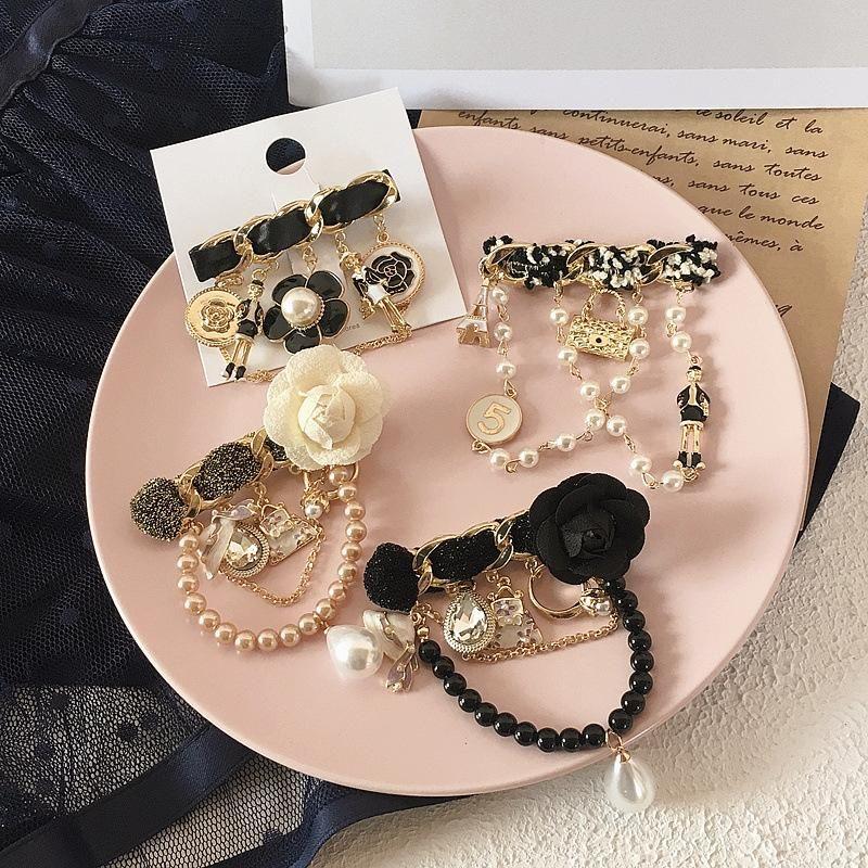 New Korean Camellia Camellia Water Drop Diamond Tassel Pearl Brooch Accessories Hair accessories Headdress NHHI201242