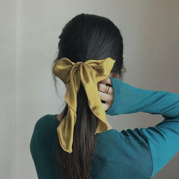 Spring Korean  new satin bow wild retro hair ring hair accessories headdress women NHHI201243