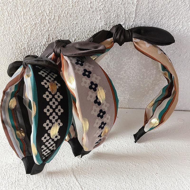 New spring and summer chiffon printed striped top knot black rabbit ears simple wild headband hair accessories headdress NHHI201249