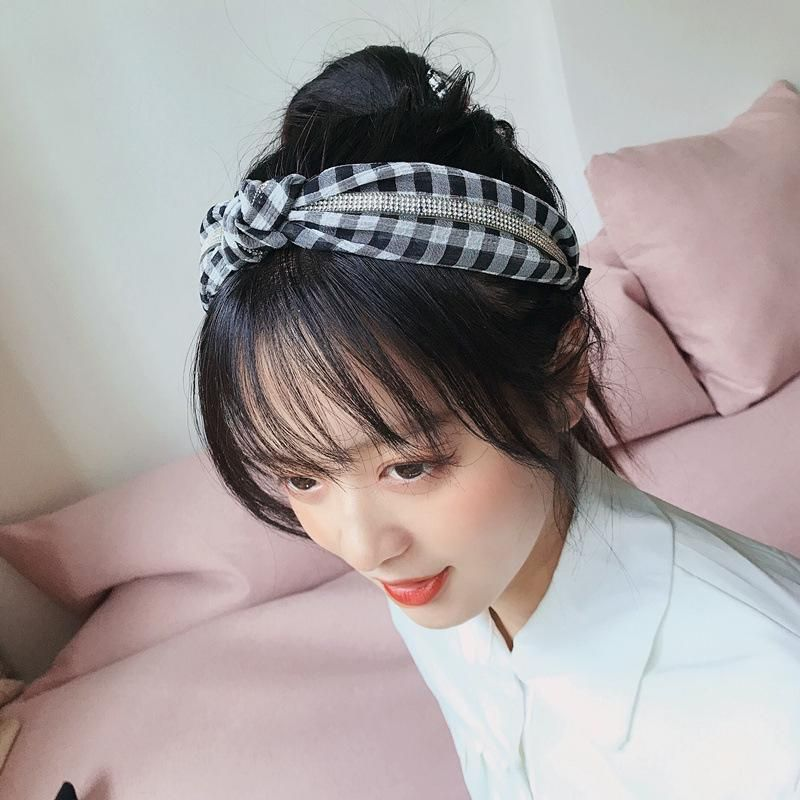 Korean new snow pattern check diamond top knot simple wild headband hair accessories women NHHI201267
