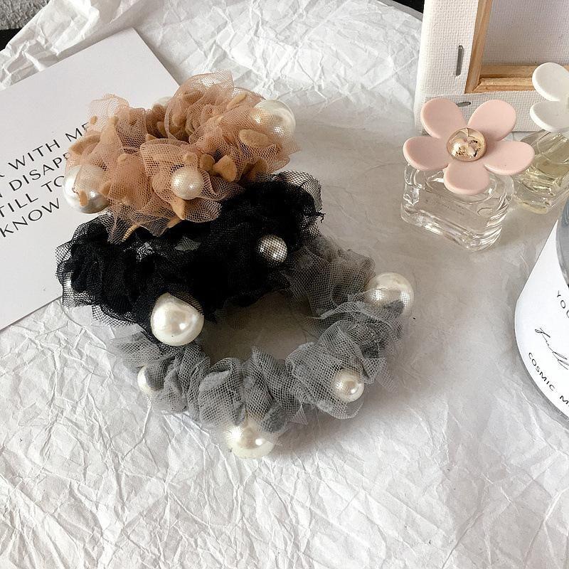 New spring and summer bud silk gauze pearl wild simple hair ring head rope rubber hair accessories headdress NHHI201275