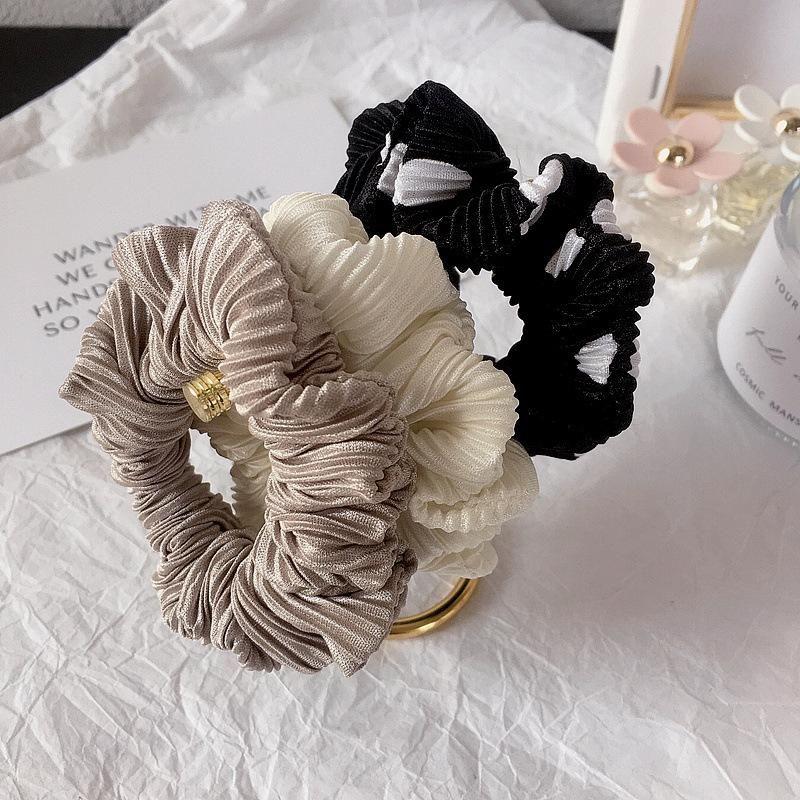 New Korean accordion pleated fabric dot printed rubber band hair accessories NHHI201277