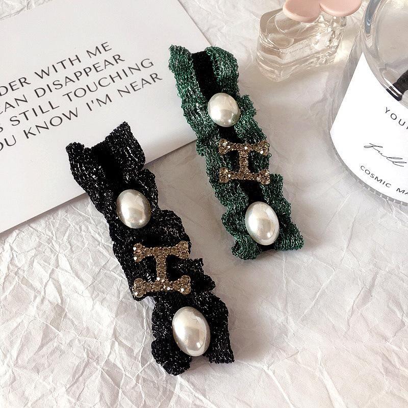 New Korean Retro Pearlescent Fabric Pearl Diamond Letter Hairpin Edge Clip Hair Accessories wholesales fashion NHHI201282