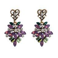 Floral diamond love multi-layer earrings female retro earrings simple boho NHJE201288